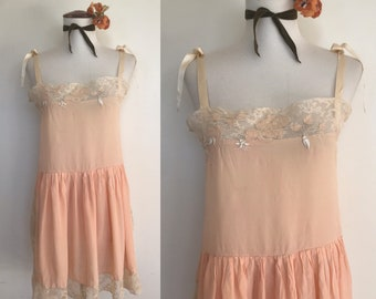 Exquisite 1920s Peach Silk Slip Nightie with Elaborate Embroidery and Delicate Lace