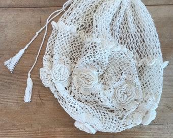 Sweet Crochet Beggars Bag Purse Pouch