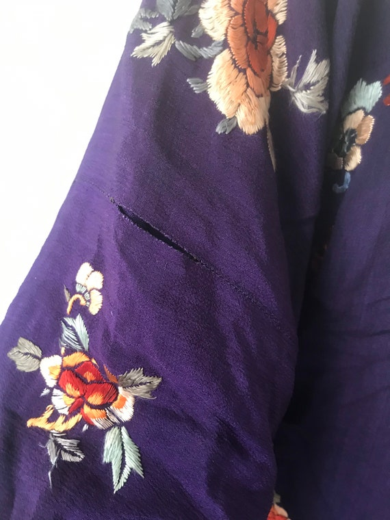 1920s Antique Regal Deep Purple Silk Embroidered … - image 6
