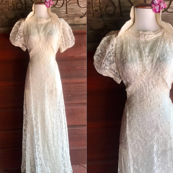 Exquisite 1930s Chantilly Lace Wedding Dress