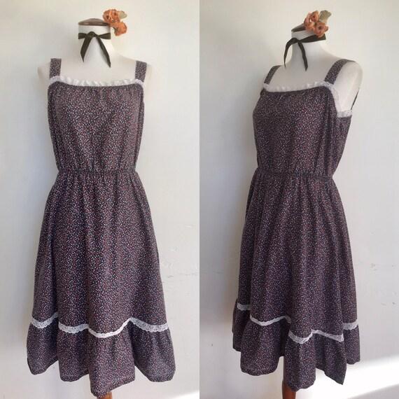 Sweet 70s Prairie Calico Dress