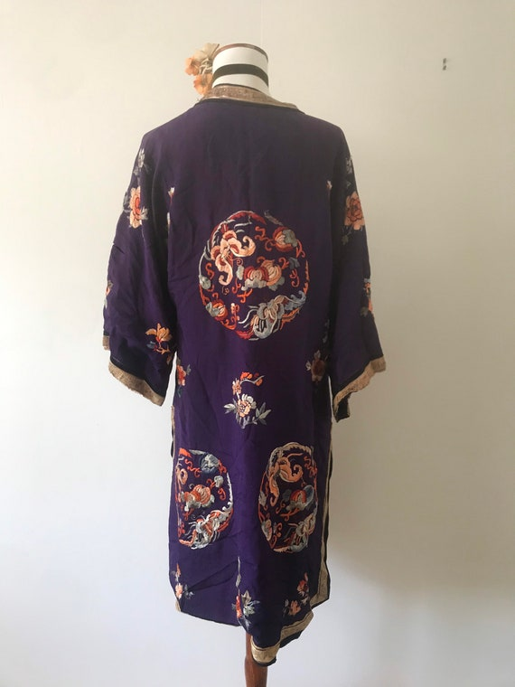 1920s Antique Regal Deep Purple Silk Embroidered … - image 4