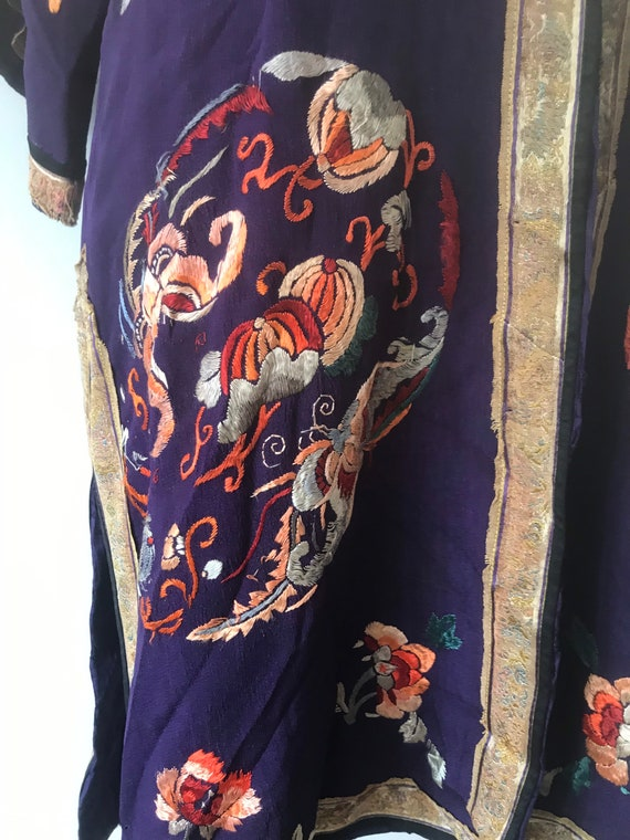 1920s Antique Regal Deep Purple Silk Embroidered … - image 5