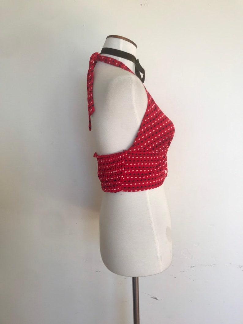 Sweet Red Navy /& White Polka Dot 70s Halter Top