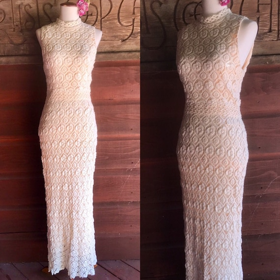 Sexy 70s High Neck Form Fitting Crochet Dress | 19