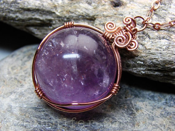 Amethyst Necklace Copper Beaded Jewlery  Love Charm  Clock Face Pendant  Lavender Stone  Amethyst Jewelry