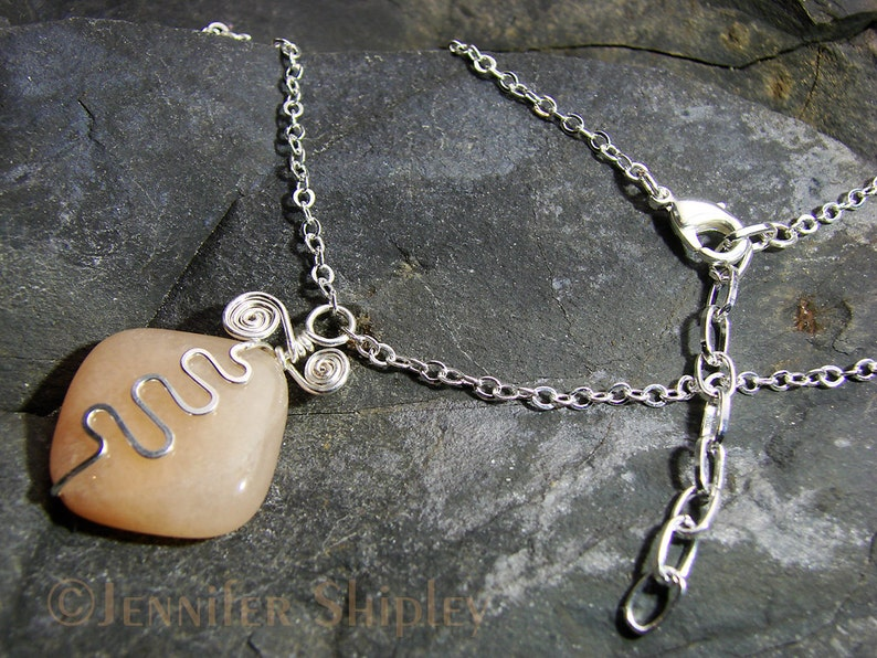Adjustable Chain Pink Calcite Pendant Necklace: Hammered Hand-Forged Silver-Filled Rustic Wire Squiggle OOAK DoodlepunkArt Peach Gemstone