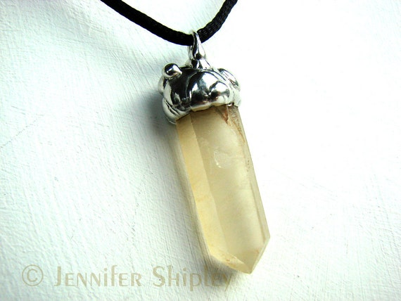 Yellow Lemurian Seed Quartz Pendant Necklace Wire Wrapped Crystal Raw Golden Healer Laser Wand Nickel Free Hypoallergenic Copper Unique
