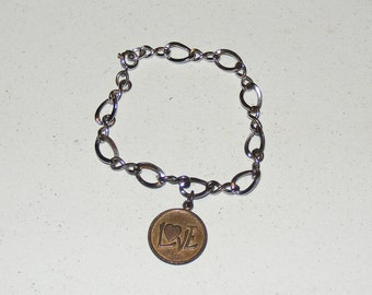 Vintage Sterling Silver Chain with Love Charm Bracelet
