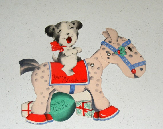 Vintage Gibson Christmas New Year Mechanical Card Dog rides Horse
