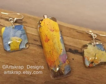 Blue Orange Multicolor, Pendant Earring Set, Made from Recycled Paint, Artskrap, Handmade Unique Jewelry, One of a kind, Art Jewelry, Gift