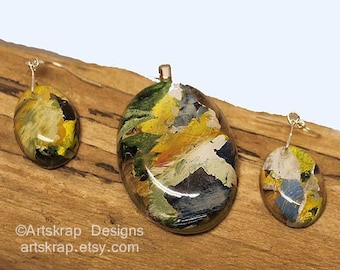Oval Funky Unusual, Pendant and Earring Set, Made from Recycled Paint, Artskrap, Handmade Unique Jewelry, One of a kind, Art Jewelry, Gifts,