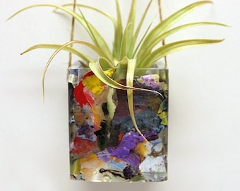 Hanging Plant Holder, One of a Kind, Made from Recycled Paint, Artksrap, Plant Holder, Air Plant Holder, Small Plant Holder, Gifts