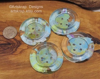 Aqua and Green, Set of Four Large Buttons, Made from Recycled Paint, Unusual Handmade Buttons, Artskrap, Sewing, Weaving, Crochet, Knitting