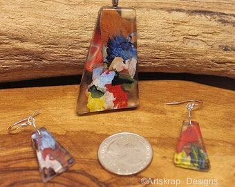 Funky Unusual, Pendant and Earring Set, Made from Recycled Paint, Artskrap, Handmade Unique Jewelry, One of a kind, Art Jewelry, Gifts,
