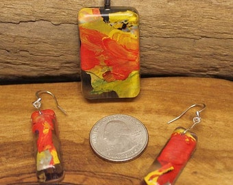 Orange Rectangle, Pendant and Earring Set, Made from Recycled Paint, Artskrap, Handmade Unique Jewelry, One of a kind, Art Jewelry, Gifts,