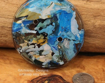 Unusual Jumbo Button, Made from Recycled Paint, Artskrap, Handmade Buttons, Sewing Supply, Fiber Arts Supplies, Fun Huge Chunky Buttons,OOAK