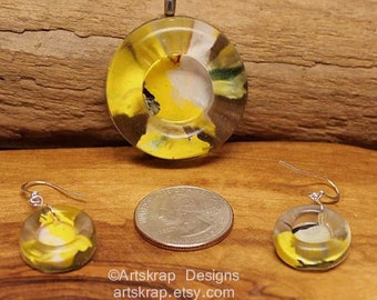 Yellow Circle, Pendant and Earring Set, Made from Recycled Paint, Artskrap, Handmade Unique Jewelry, One of a kind, Art Jewelry, Gifts,