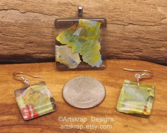 Green Multicolor Square, Pendant Earring Set, Made from Recycled Paint, Artskrap, Handmade Unique Jewelry, One of a kind, Art Jewelry, Gift