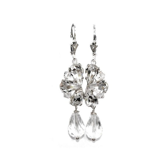 2bfe907fc5321e Items similar to Bridal Earrings Vintage inspired Sterling silver Diamante  and Crystal drop on Etsy