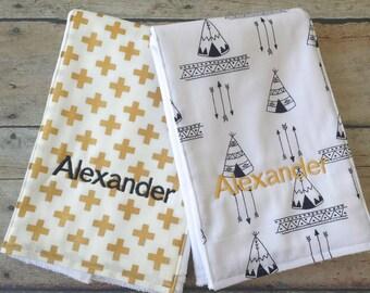 Boho Baby Burp Cloth Set Gray Arrows,Baby Girl Shower Gift Baby Shower Gift