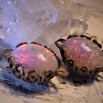 OLD Very Vintage Fire Opal Filigree Connectors 12/10 Oval Art Glass Cabochon Rhinestone Pink Amber Raw Bare Antique Bronze Brass