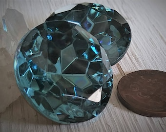 2pc Rare 25mm Round Vintage Blue Zircon Art Glass 1 Inch Foiled Jewel Faux  Gemstone Faceted Pointed Back Loose Gold Foiled Rhinestone S3D4 8d2366417780