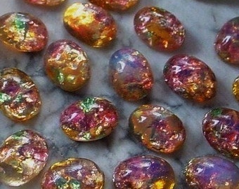 SALE 24+|36+pc Old 8/6 Oval Japan Fire Opal Art Glass Harlequin Cabochon Unfoiled 6/8 mm Stone Flat Back Pink Green Amber Imitation Stone 4Q