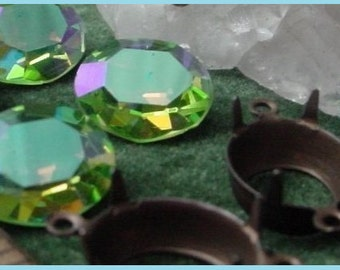 Lot Choice Vintage Swarovski Crystal 12/10 mm Oval Rhinestones Peridot AB Charm Drop 10/12 Oxidized Dark Patina Brass Connector Settings 9MN