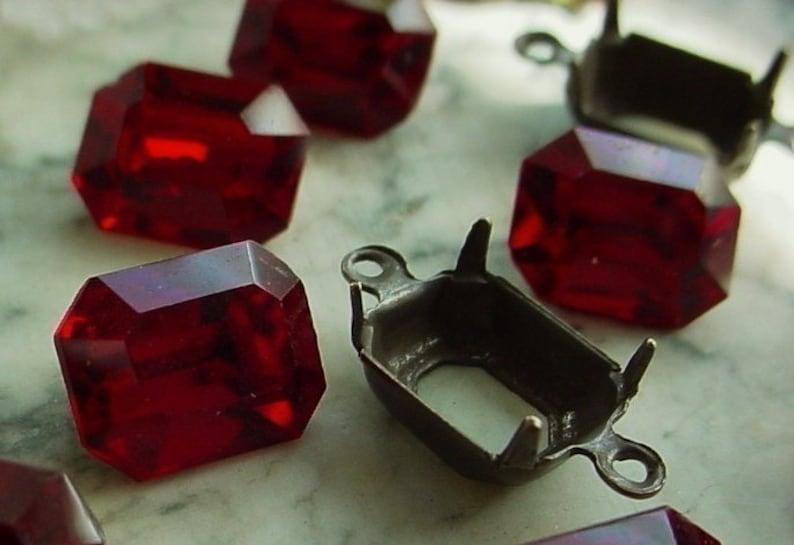 3 Sets Old Ruby Swarovski Crystal 10/8 mm Octagon Vintage image 0
