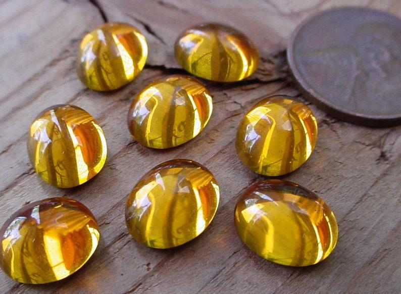 12pc Swarovski Crystal 10/8 mm Cab Gold Golden Topaz Oval image 0