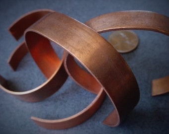 Destash Lot 2nds 4pc Vintage Solid Copper Blank Cuff Bracelets 18g 16g Sheet Metal Strips 1/2 + 3/8 Inch Wide Not Full 6 Inch Closeout CI