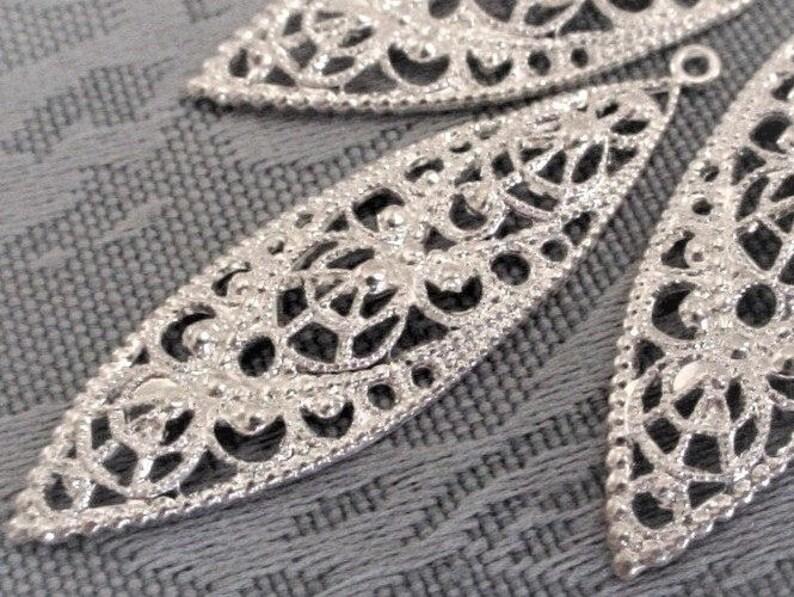 Lot OLD Art Deco Filigree Navette Shape Long Earring Dapped image 0