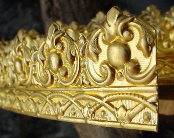 Per 1/2 Foot French Rococo Style Wide Brass Gallery Wire Filigree Ornate Dapt 1 5/8 Inch Bare Raw Gold Jewelry Finding Metal Art 22g 20g CB3
