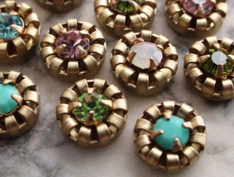 14pc Vintage 6mm Round Swarovski Crystal Rhinestone Crown image 0
