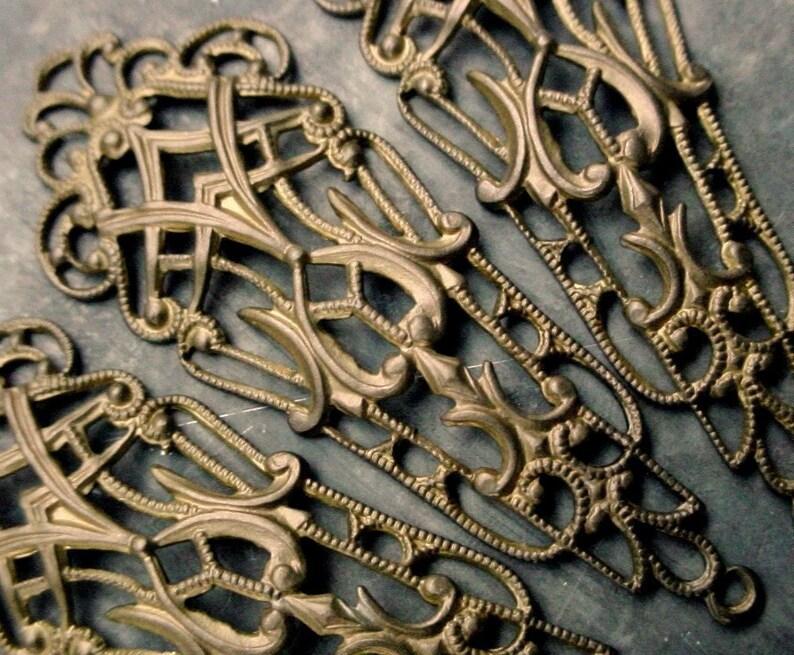 Lot Old Vintage Brass Long Dangle Filigree Earrings Drops image 0