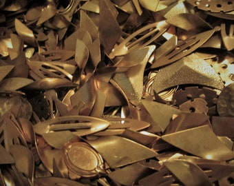 Vintage Brass Stampings Bulk Mixed Blanks Shapes Bare Raw Sheet Metal Working Art Craft Supplies Jewelry Clean .5 Lb Pound Wholesale Lot