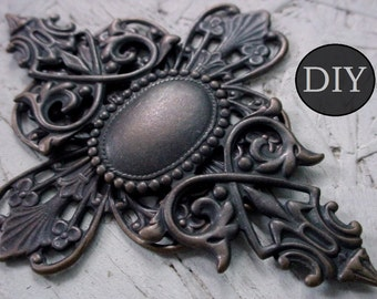 DIY KIT 75mm Large Ornate Gothic Cross Pendant 3 Inch 18/13 mm Setting Oxidized Aged Dark Patina Brown Black Brass Unisex Jewelry Finding 3G