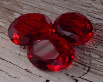 Lot 14x10 mm Unfoiled Vintage Oval Siam Ruby Czech Glass Transparent Faceted Pointed Back Loose Rhinestones Stones Jewels 6Q