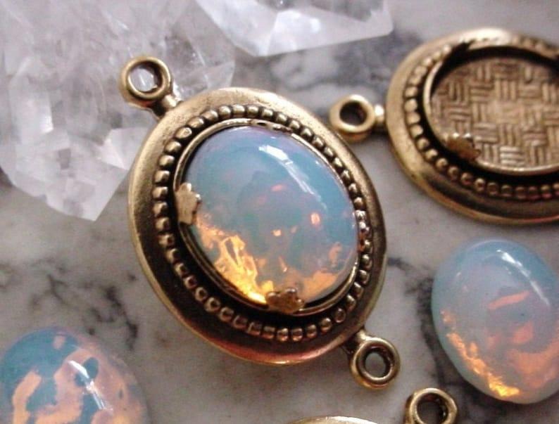 Lot Vintage 10/8 mm Fire Opal Art Glass Cabochons Old image 0