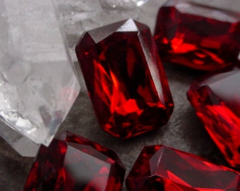 4pc Vintage Siam Ruby 14/10 mm Octagon Rectangle Loose Czech 10/14 mm Faceted Pointed Back Glass Stones Jewel Dark Red Foiled Rhinestones 5I