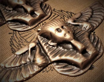 2pc Egyptian Winged Pharaoh Sphinx Vintage Stl Brass Stamping Cameo Antique Gold Tan Bronze Patina Jewelry Finding Embellishment Hardware 6G