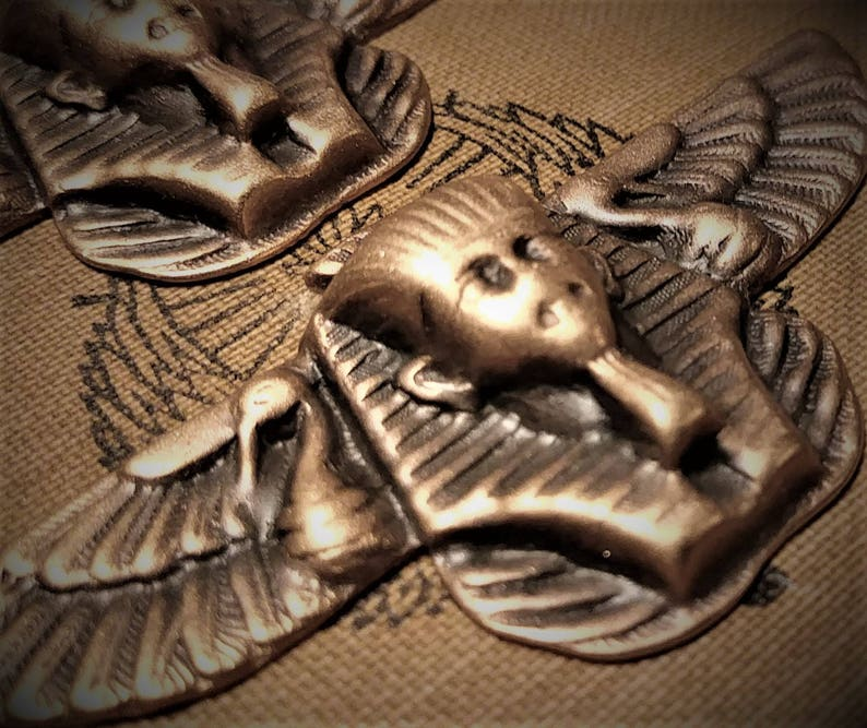 2pc Egyptian Winged Pharaoh Sphinx Vintage Stl Brass Stamping image 0