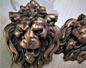 Lot Hand Oxidized Brass Lion Stamping Focal Cameo Decorative Antique Gold Bronze Patina Raw Brass Vintage Sty Jewelry Findings Hardware 14L