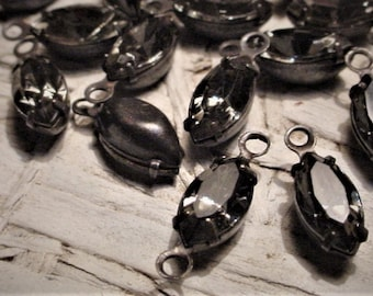 Lot Noir Vintage Black Diamond Swarovski Crystal 1 2 Ring Loop Rhinestone Beads 10/5 mm Navette Marquise Dark Gothic Brass Connectors 11ab