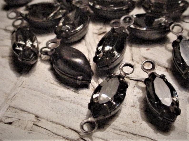 Bulk Lot Vintage Black Diamond Swarovski Crystal Connectors image 0