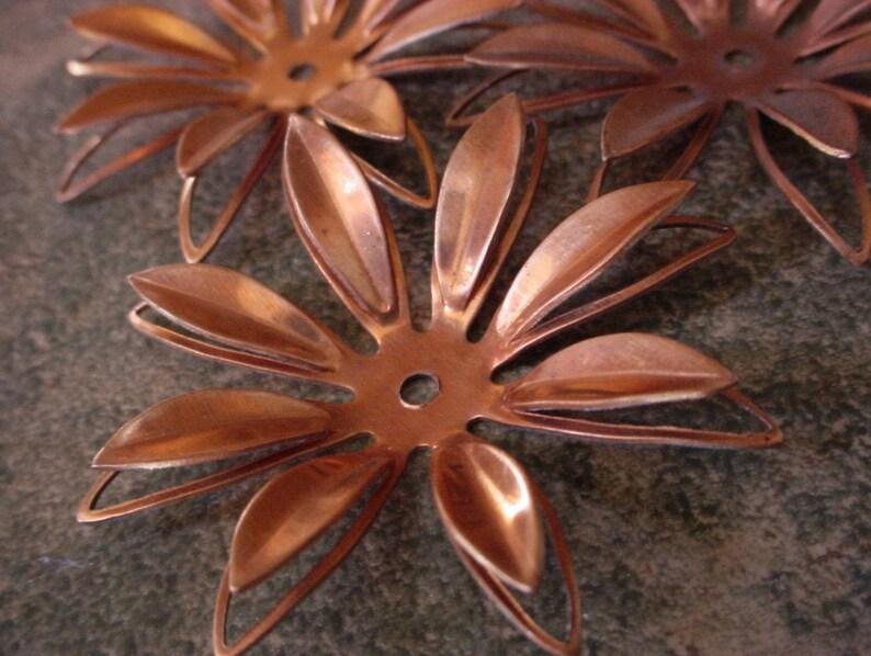 Lot 48mm Vintage Copper Flowers 3D Daisy Rivit Hole Floral image 0