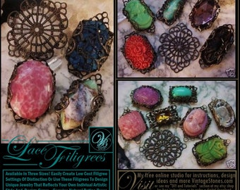 Choose Size Filigree Wrap Settings Bezels Oxidized Dark Bronze Natural Patina Brass Victorian Vintage Lace Connectors Jewelry Findings Lot 7