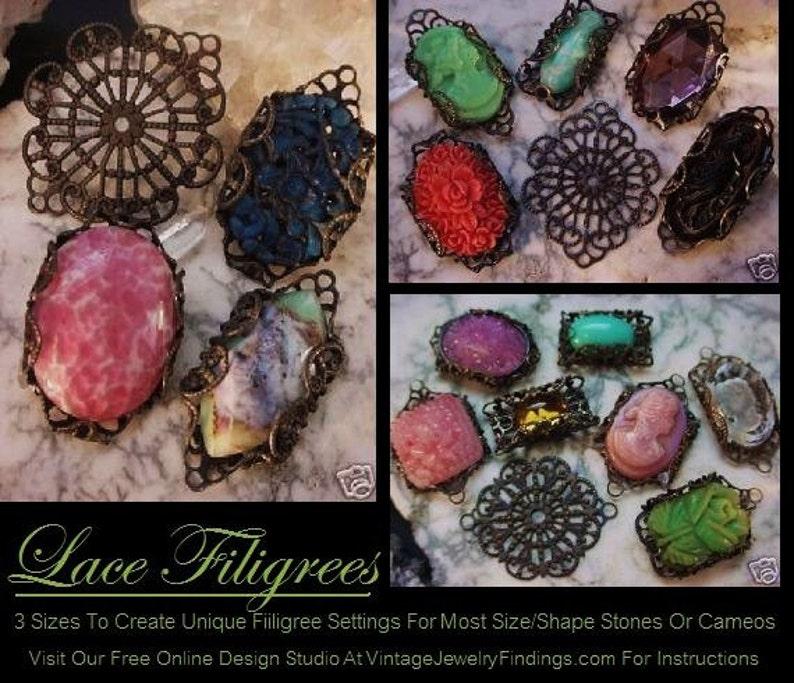 Choose Size Lace Filigree Wrap Settings Oxidized Dark Bronze image 0