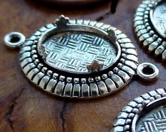 QUALITY Old Vintage Antique Sterling Silver Plt 10/8 mm Connector Settings Bead Edge Fleur De Lis Prong Gemstone/Cabochon Earring Pendant 5L